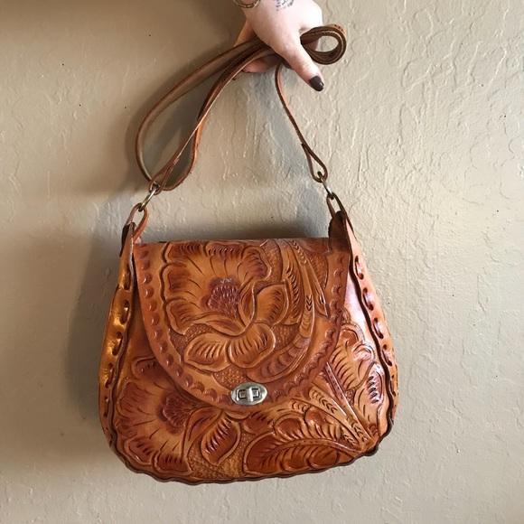 314fdd4f2b handmade Handbags - Vtg handmade tooled leather crossbody bag mexico